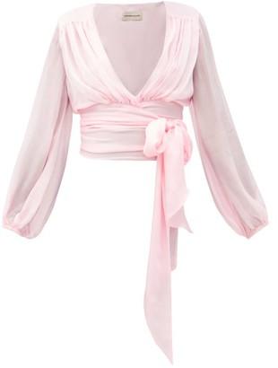 Alexandre Vauthier Wraparound Silk-satin Blouse - Light Pink