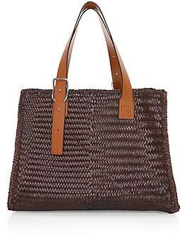 Loewe Men's Woven Leather Buckle Tote