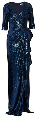 Teri Jon By Rickie Freeman Sequin Wrap Gown
