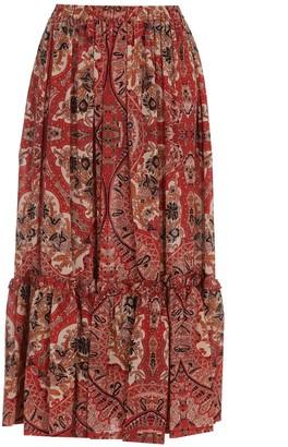 Etro Long Paisley Naif Print Skirt