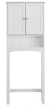 Elegant Home Fashions Sierra Over the Toilet Bathroom Storage Space Saver, White