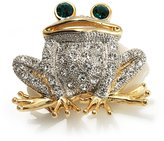 Avalaya Lucky Frog With Emerald-Green Crystal Eyes Brooch (Silver&Gold Tone)