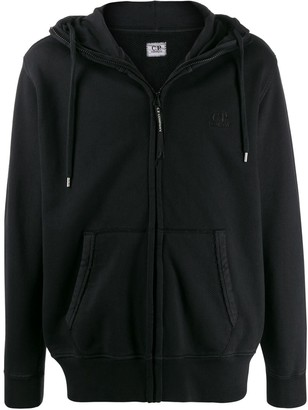 C.P. Company embroidered logo zip-up hoodie