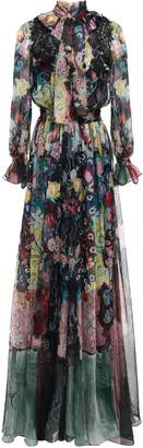 ZUHAIR MURAD Puss-bow Shirred Lace-trimmed Printed Silk-voile Gown