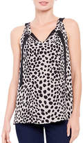 Ellen Tracy Petite Cheetah Tie Neck Halter Top