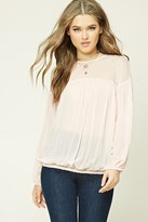 Forever 21 FOREVER 21+ Sheer Lace-Paneled Top