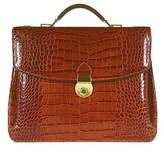 L.a.p.a. Cognac Croco-embossed Double Gusset Briefcase