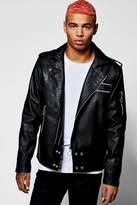 boohoo Black Faux Leather Regular Fit Biker Jacket black