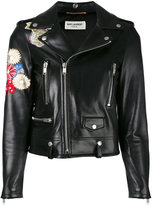 Saint Laurent embroidered leather jacket - women - Silk/Cotton/Lamb Skin/Cupro - 38