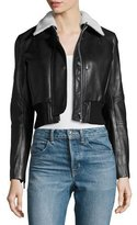 Helmut Lang Cropped Lamb Leather Jacket, Black