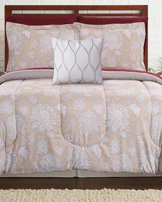 Modern Threads 8Pc Printed Reversible Tan Bed Set