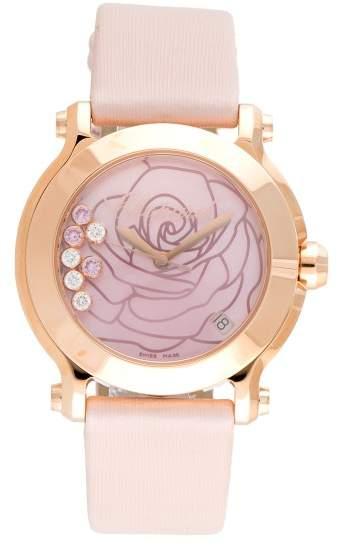 Chopard Happy Sport La Vie En Rose Diamond 18K Rose Gold 36mm Womens Watch
