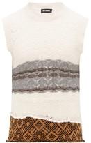 Raf Simons Lace-knitted Banded-hem Wool Sleeveless Sweater - Mens - Cream