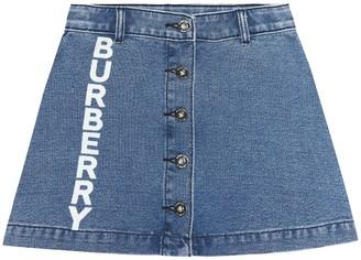 BURBERRY KIDS Logo denim skirt