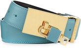 Buscemi 100mm Padlock-Buckle Leather Belt, Oxygen (Blue)
