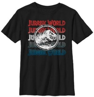 Fifth Sun Jurassic World Two Big Boys Red White and Blue Logo Repeat Short Sleeve T-Shirt