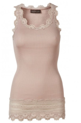 Rosemunde Long Silk Tops With Lace Edges Vintage Powder - S