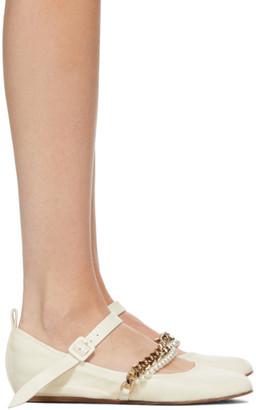 Simone Rocha Off-White Curb Chain and Pearl Strap Ballerina Flats