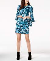 Bar III Printed Ruffled-Sleeve Dress, Created for Macy's
