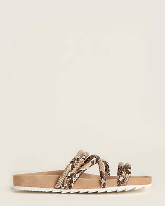 J/Slides Natural Tess Snakeskin-Effect Slide Sandals