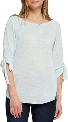 Nic+Zoe Casual Friday Boat-Neck Tie-Cuff Sweater