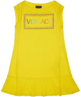 Versace Embellished Logo Cotton Jersey Dress