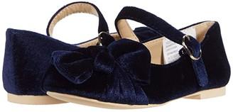 Janie and Jack Velvet Bow Flat (Toddler/Little Kid/Big Kid) (Navy) Girl's Shoes