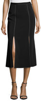 Christopher Kane Topstitched Side-Slit Midi Skirt, Black