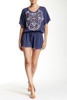 Love Stitch Embroidered Front Dolman Sleeve Romper