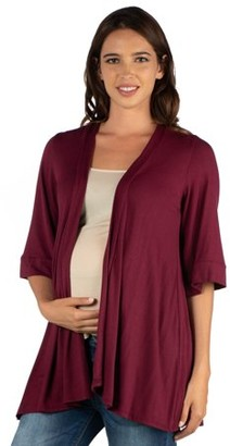 24/7 Comfort Apparel 24seven Comfort Apparel Elbow Length Sleeve Open Front Maternity Cardigan