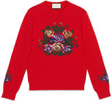 Gucci Wool sweater with flower embroidery