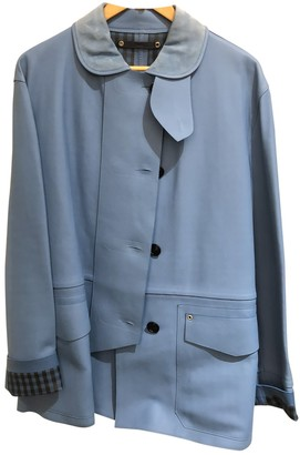 Loewe Blue Leather Coat for Women