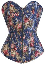 HPLY Women's Sexy Fashion zipper Floral Jeans Corset Bustier