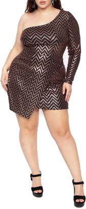 Curvy Sense Sequins One Shoulder Dress