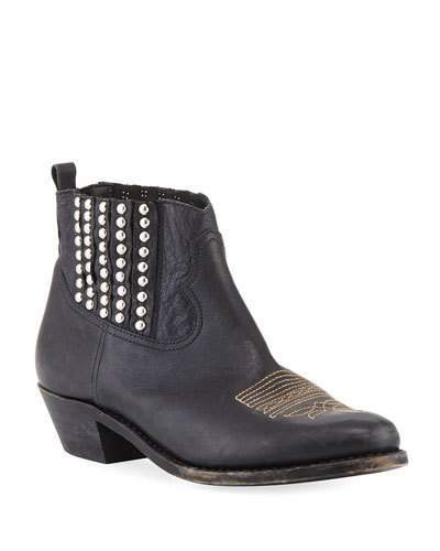 Golden Goose Crosby Short Studded Leather Cowboy Boot