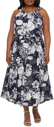 Robbie Bee Plus Sleeveless Floral Puff Print Maxi Dress