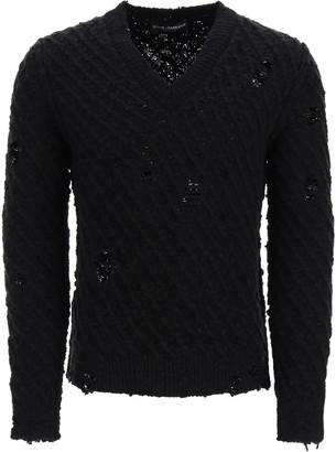 Dolce & Gabbana V-neck Destroyed Pullover