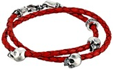 King Baby Studio Thin Braided Red Leather w/ Hamlet Skulls Double Wrap Bracelet Bracelet