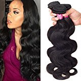 Ulove Hair Brazilian Virgin Human Hair Weave Body Wave Bundles Unprocessed Remy Hair Extensions Natural Color 95-100g/pc (12 14 16),Total:300g