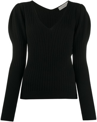 D-Exterior Ribbed Knit Puffed-Shoulder Jumper