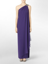 Calvin Klein One Shoulder Beaded Evening Gown