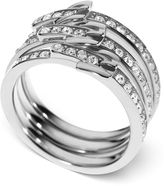 Michael Kors Ring Set, Silver-Tone Glass Pave Buckle Rings