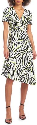 Christian Siriano Zebra Print Asymmetrical Hem Dress