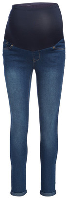 Times 2 Women's Denim Pants and Jeans Medium - Medium Wash Over-Belly Maternity Boyfriend Jeans - Plus Too