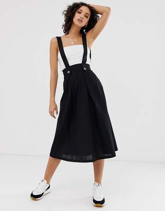 Asos Design DESIGN full skirted pinafore midi skirt-Black