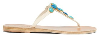 Ancient Greek Sandals Lina Gemstone-embellished Leather Sandals - White Multi