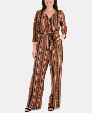 NY Collection Striped Belted Jumpsuit