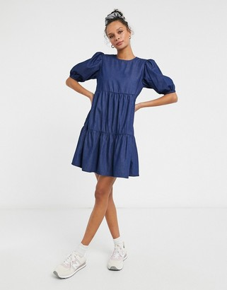 New Look puff sleeve denim smock dress in blue