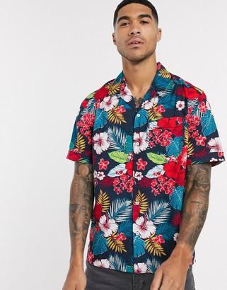 Original Penguin revere collar floral print camp shirt in navy