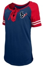 5th & Ocean Houston Texans Women's Logo Lace Up T-Shirt